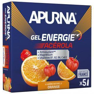 Packung mit 5 Gelen Apurna Energie Acérola Orange - 35g